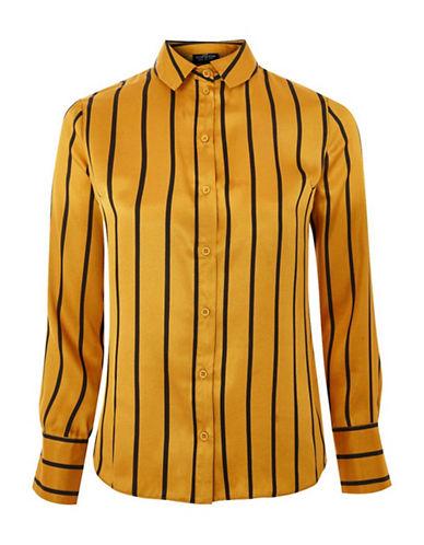 Topshop PETITE Stripe Blouse-MUSTARD-UK 12/US 8