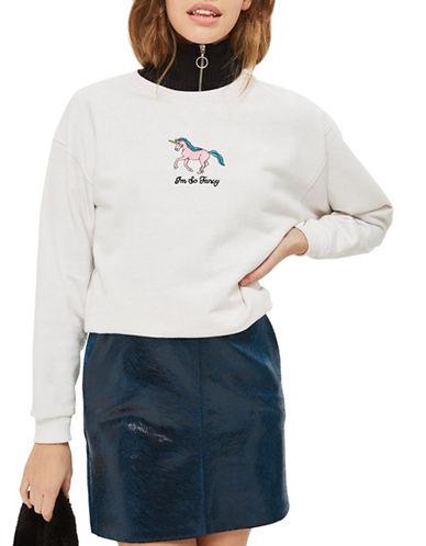 Topshop Fancy Unicorn Boxy Sweatshirt by Tee and Cake-WHITE-UK 12/US 8