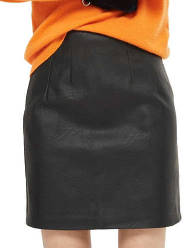 Topshop TALL High-Waisted Faux Leather Skirt-BLACK-UK 10/US 6