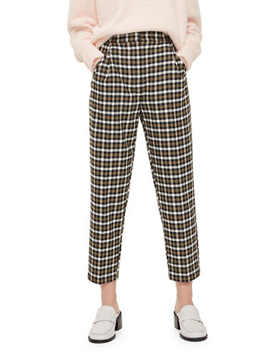Topshop Monica Cropped Checked Pants-MULTI-UK 12/US 8