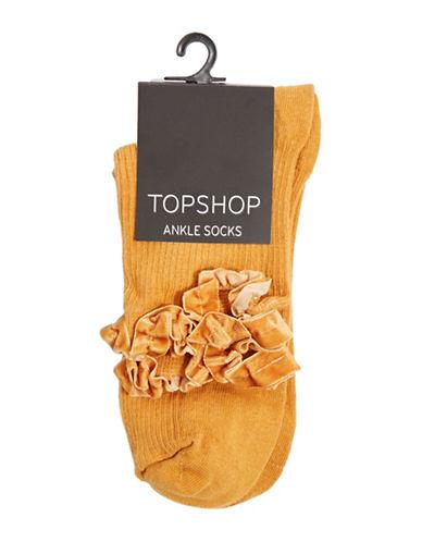 Topshop Velvet Trim Ankle Socks-MUSTARD-1
