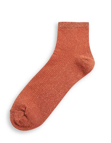 Topshop Crop Rib Glitter Socks-COPPER-1