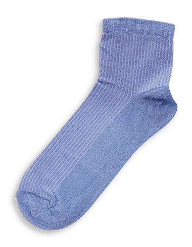 Topshop Crop Rib Glitter Socks-CORNFLOWER-1