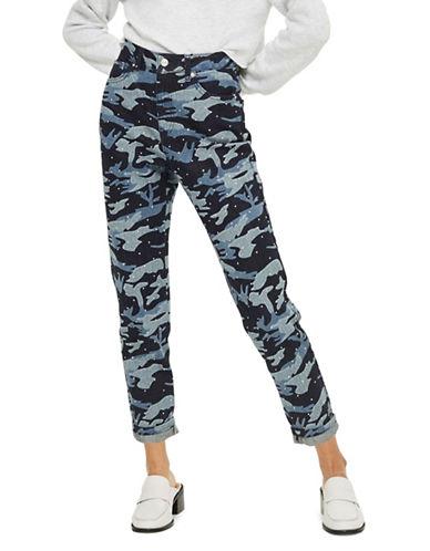 Topshop Moto Camouflage Diamante Mom Jeans-INDIGO-25X30