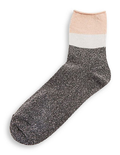 Topshop Colourblock Glitter Ankle Socks-NUDE-One Size