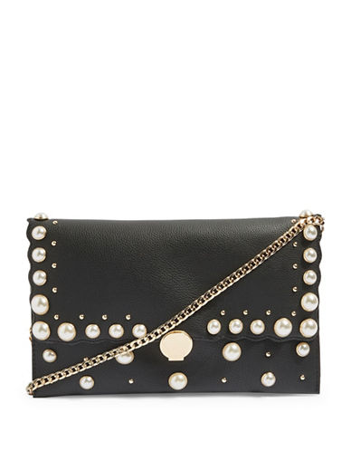 Topshop Cindy Faux Pearl Clutch Bag-BLACK-One Size