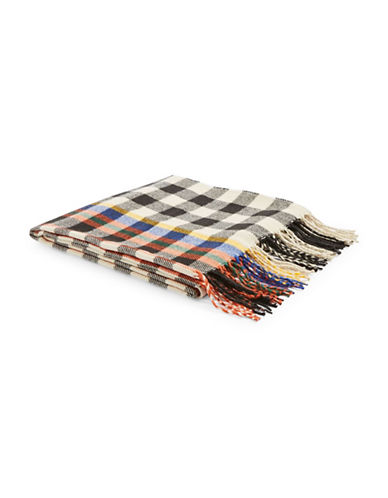 Topshop Grid Pop Stripe Scarf-RED-One Size