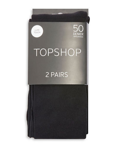 Topshop Two-Pack 50 Denier Tights-BLACK-Medium