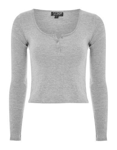 Topshop Long-Sleeved Button Front Top-GREY-UK 12/US 8