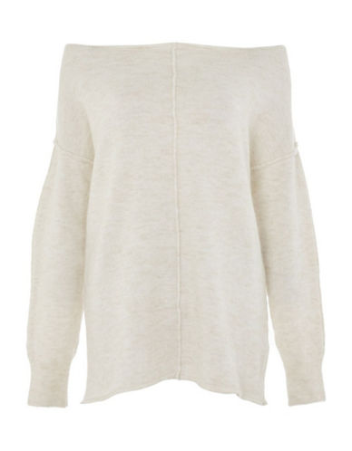 Topshop Outside Seam Sweater-IVORY-UK 8/US 4