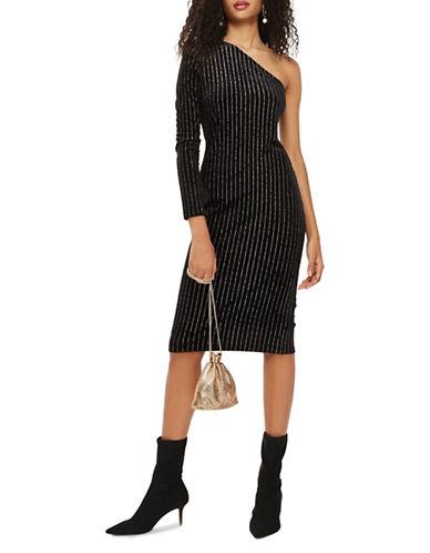 Topshop One-Shoulder Glitter Midi Dress-BLACK-UK 10/US 6