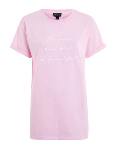 Topshop Beautiful Printed Tee-PINK-Medium