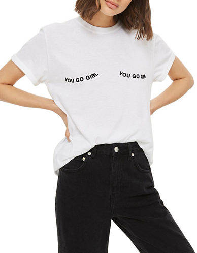 Topshop You Go Girl Printed Tee-WHITE-Medium
