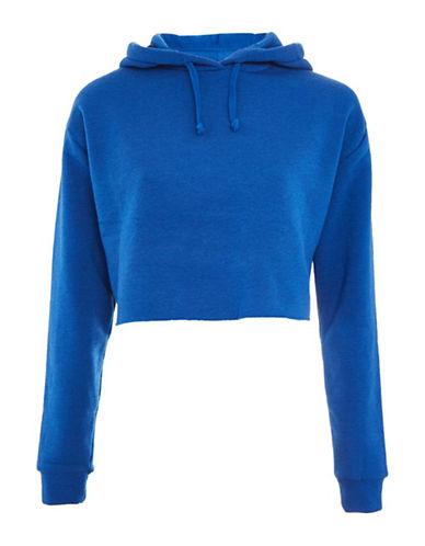 Topshop PETITE Cropped Hoodie-BLUE-UK 8/US 4