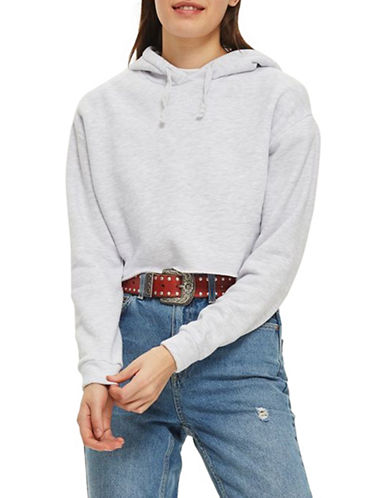 Topshop Cropped Hoodie by Boutique-GREY MARL-UK 6/US 2