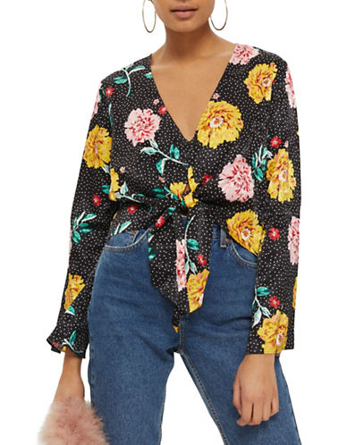 Topshop PETITE Floral Spotted Jacquard Top-BLACK-UK 4/US 0