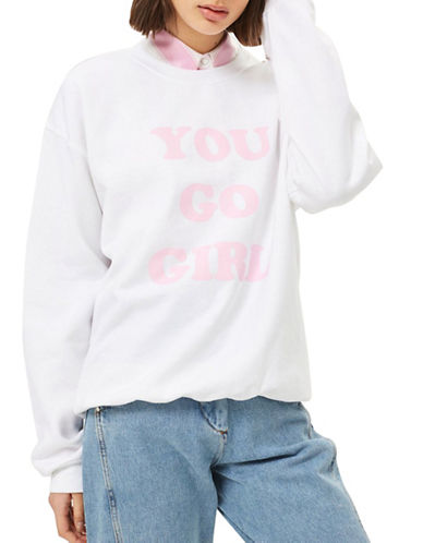 Topshop You Go Girl Printed Sweater-PINK-Small