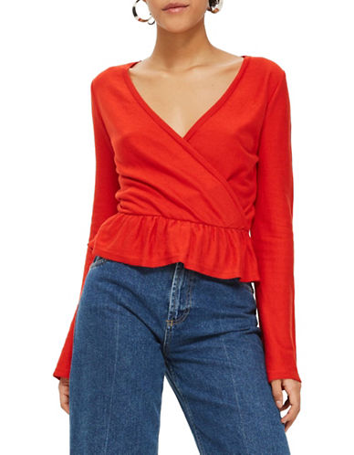 Topshop Solid Peplum Wrap Top-RED-UK 8/US 4