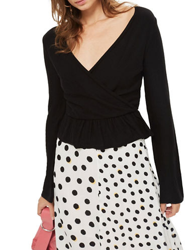 Topshop Solid Peplum Wrap Top-BLACK-UK 8/US 4