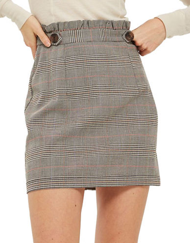 Topshop Heritage Check Frill Skirt-STONE-UK 14/US 10