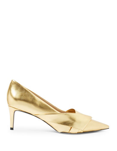Topshop Joy Bow Detail Mid Heel Shoes-GOLD-EU 40/US 9.5