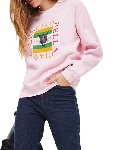 Topshop Ciao Bella Panther Sweatshirt by Tee and Cake-PINK-Small