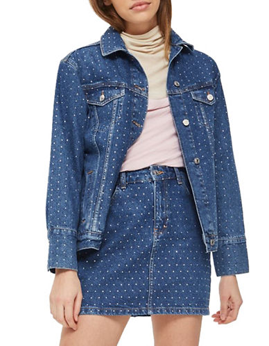 Topshop Mini Crystal Denim Jacket-MID DENIM-UK 10/US 6