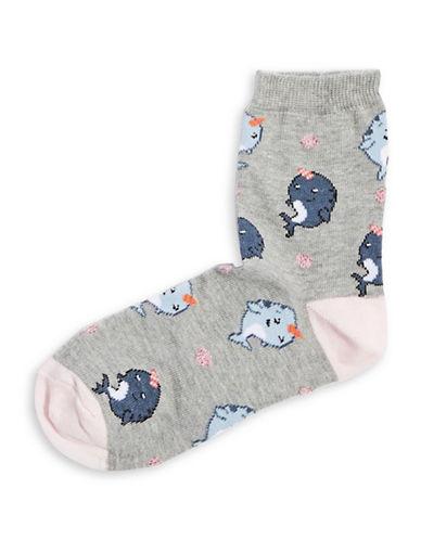 Topshop Narwhale Novelty Ankle Socks-GREY-1