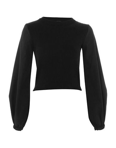 Topshop Balloon Sleeve Sweater-BLACK-UK 14/US 10