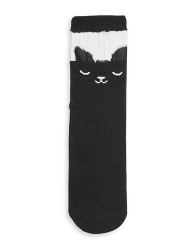 Topshop Sheer Cat Socks-BLACK-1