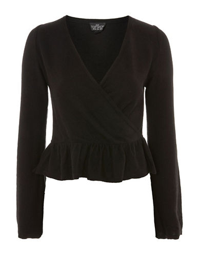 Topshop PETITE Peplum Wrap Top-BLACK-UK 10/US 6