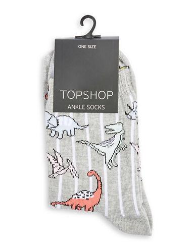 Topshop Stripe Dinosaurs Ankle Socks-MULTI-1