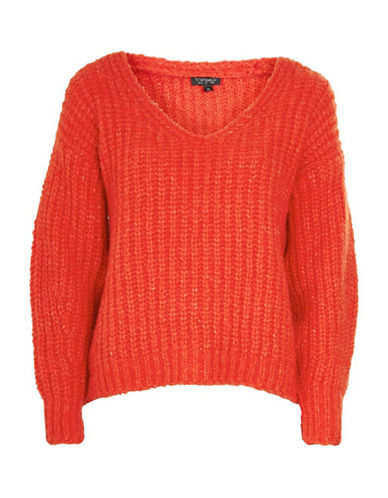 Topshop Oversized V-Neck Sweater-RED-UK 8/US 4