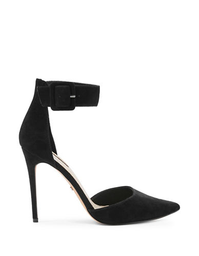 Topshop Grace Wide Ankle Strap Heels-BLACK-EU 39/US 8.5