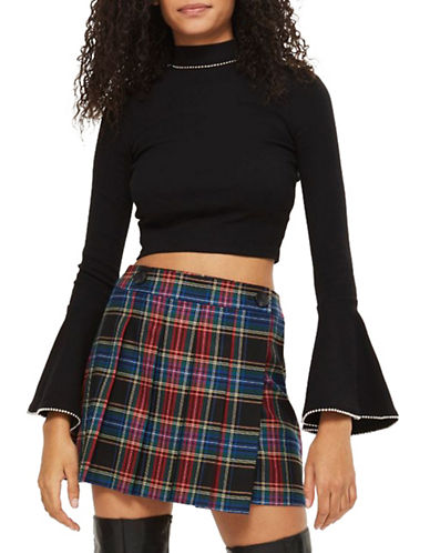 Topshop Ribbed Flared Crop Top-BLACK-UK 6/US 2