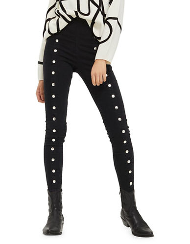Topshop MOTO Popper Joni Jeans 30-Inch Leg-WASHED BLACK-32X30