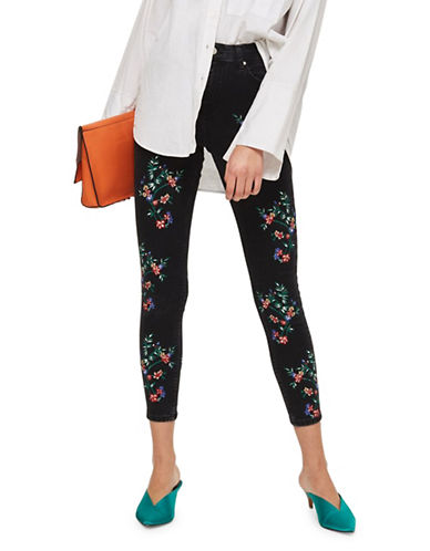 Topshop MOTO Embroidered Jamie Jeans 30-Inch Leg-BLACK-26X30