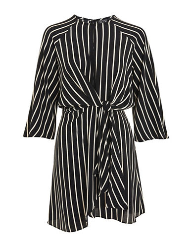 Topshop TALL Mono Stripe Knot Front Wrap Dress-MONOCHROME-UK 14/US 10