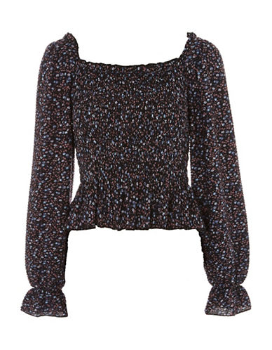 Topshop Shirred Ditsy Long Sleeve Top-NAVY-UK 12/US 8