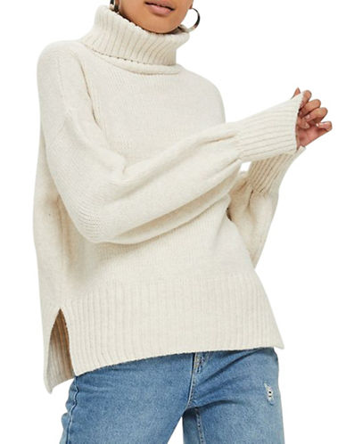 Topshop Ribbed Sweater-TAUPE/BEIGE-UK 12/US 8