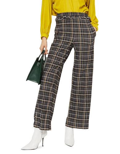 Topshop Check Plisse Trousers-MULTI-UK 10/US 6