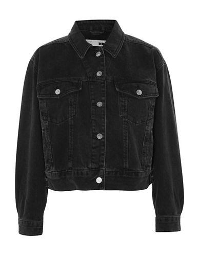 Topshop MOTO Cropped Oversized Jacket-WASHED BLACK-UK 12/US 8