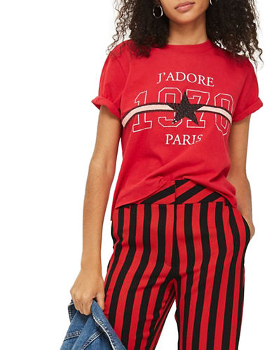 Topshop Jadore Stud Crop Tee-RED-Medium