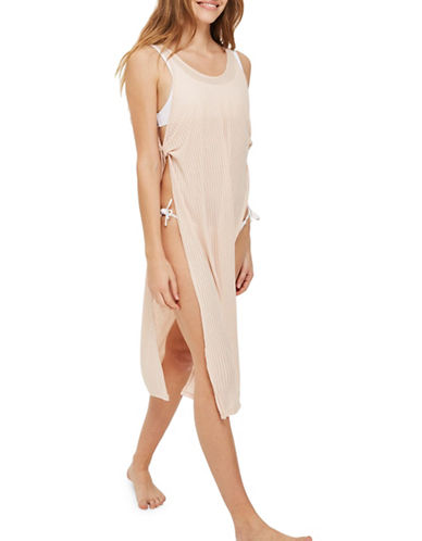 Topshop Ribbed Side Knot Cover Up-BLUSH-Large