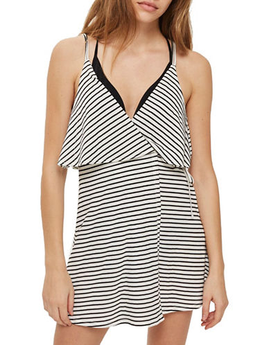 Topshop Striped Wrap Sundress-MONOCHROME-Small
