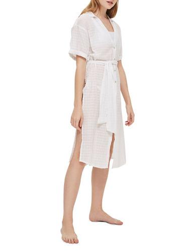 Topshop Jacquard Maxi Beachshirt-WHITE-Small