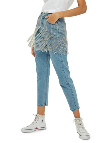 Topshop Limited Edition MOTO Diamante Fringe Waist Mom Jeans 30-Inch Leg-BLEACH-32X30
