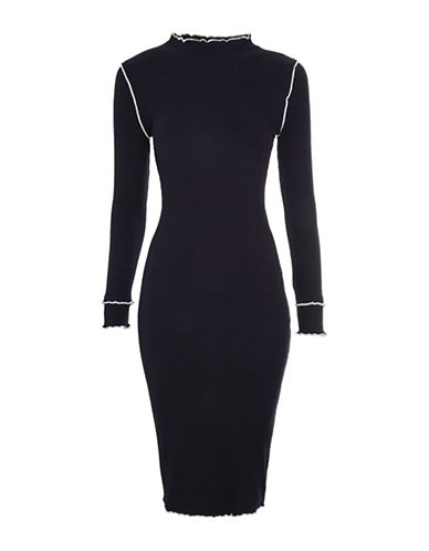Topshop Frill Bodycon Mini Dress-NAVY BLUE-UK 12/US 8