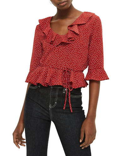 Topshop Spot Print Frill Blouse-RUST-UK 14/US 10