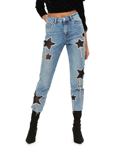 Topshop MOTO Bleach Diamante Star Jeans 30-Inch Leg-LIGHT DENIM-32X30